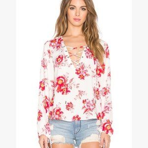 Tularosa floral lace up blouse